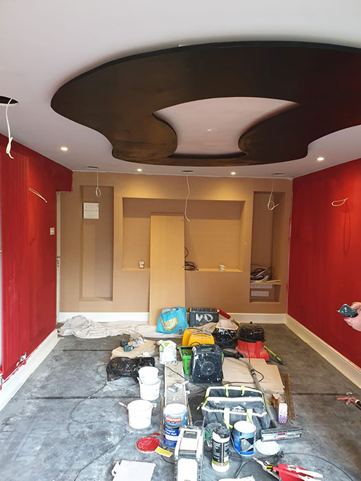 dark colours for decorating a cinema room